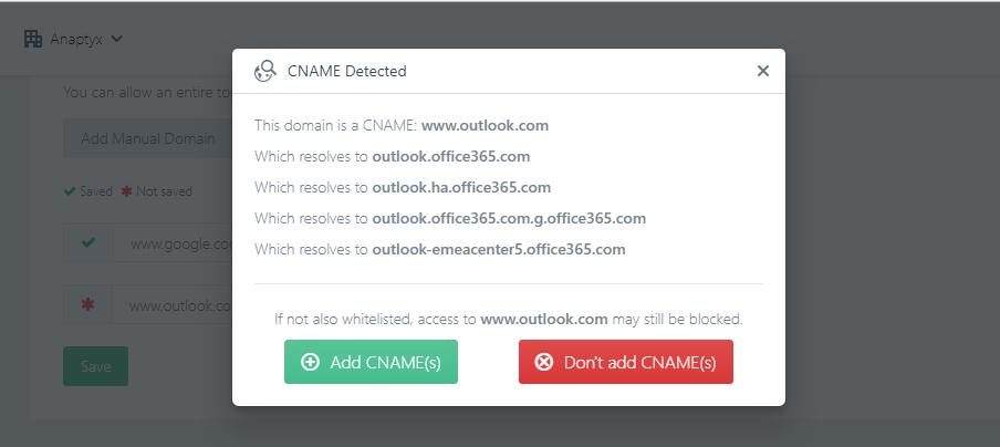 CNAME Awareness in Whitelist - DNSFilter changelog