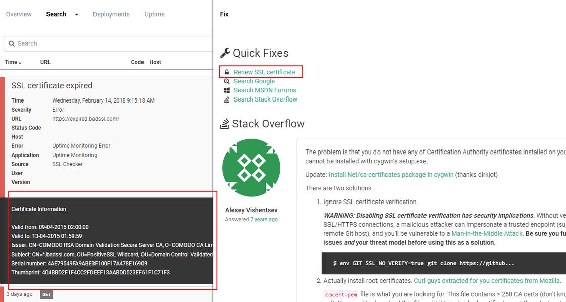 Certificate Information And A New Quick Fix Elmah Io Changelog
