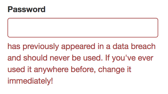 Pwnded Password Error Message
