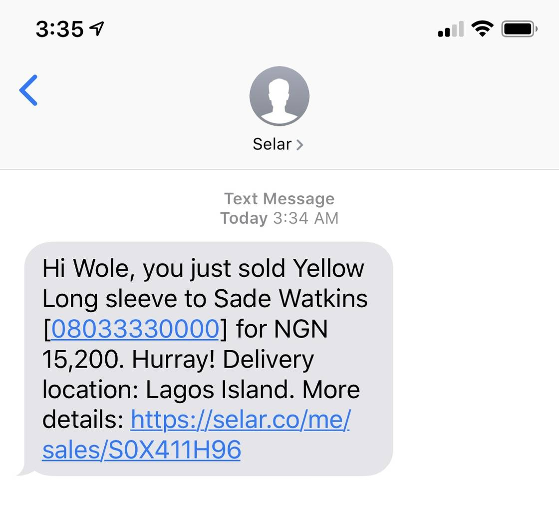 Free SMS notification for every sale - Selar updates