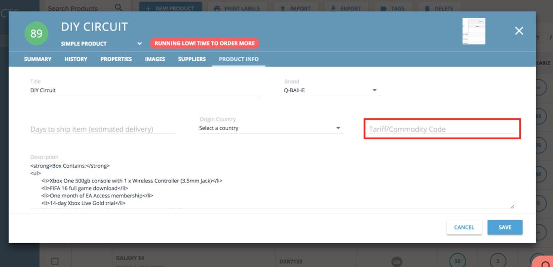 HS Codes per Product - veeqo changelog