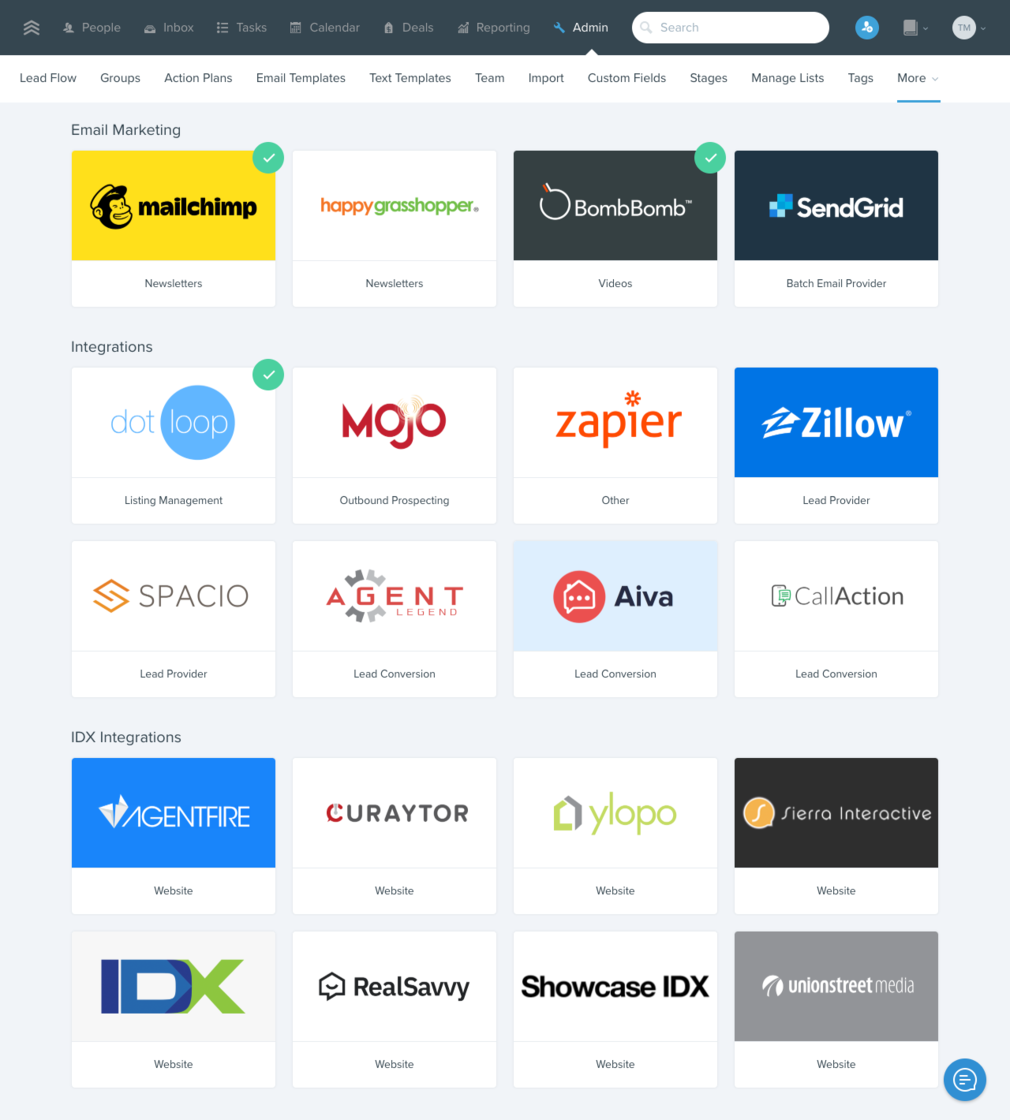 New integrations page