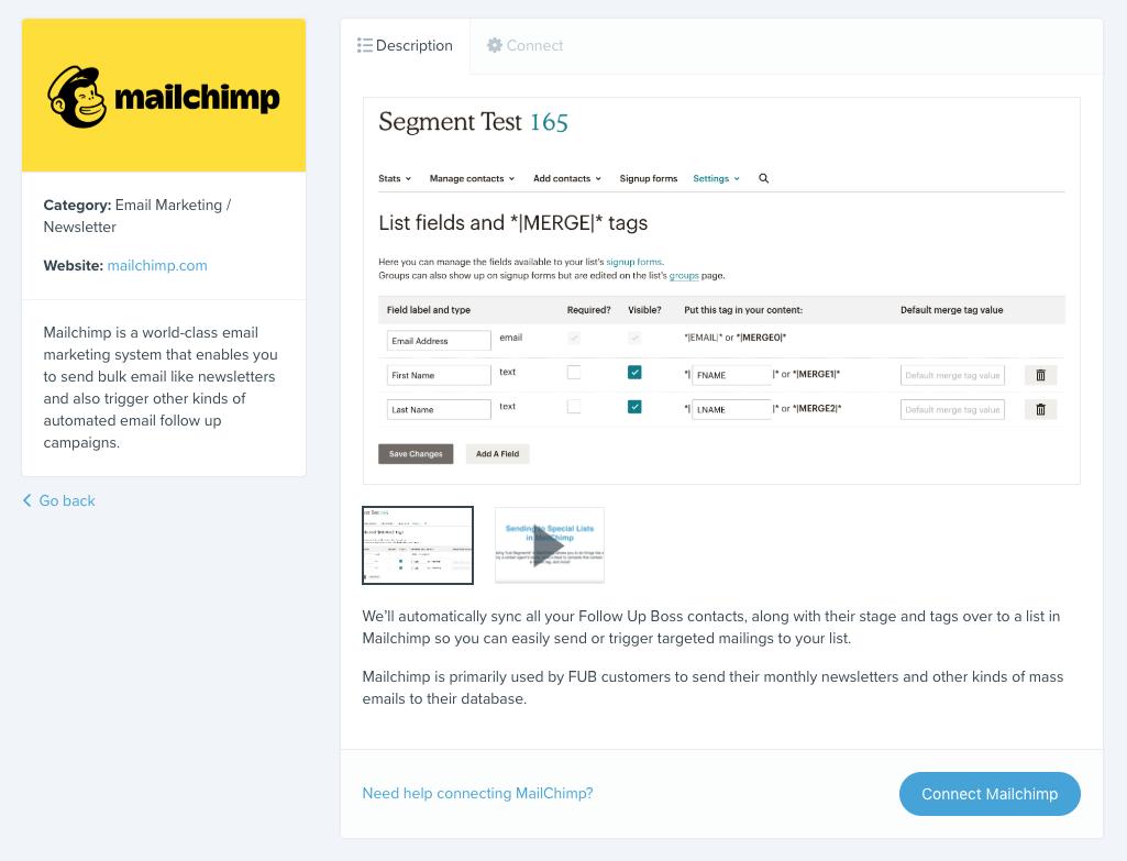 Integration details page