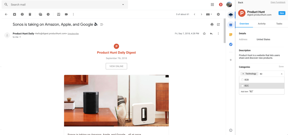Fundstack's Chrome and Gmail Extension open in Gmail