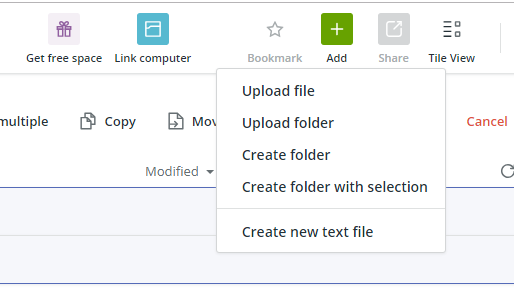 create folder with selection koofr.png
