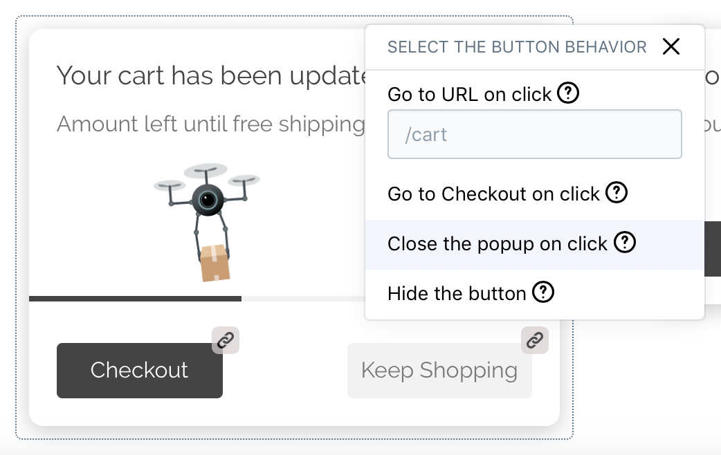 Free Shipping Popup (Shopify app) – The Customize Buttons feature