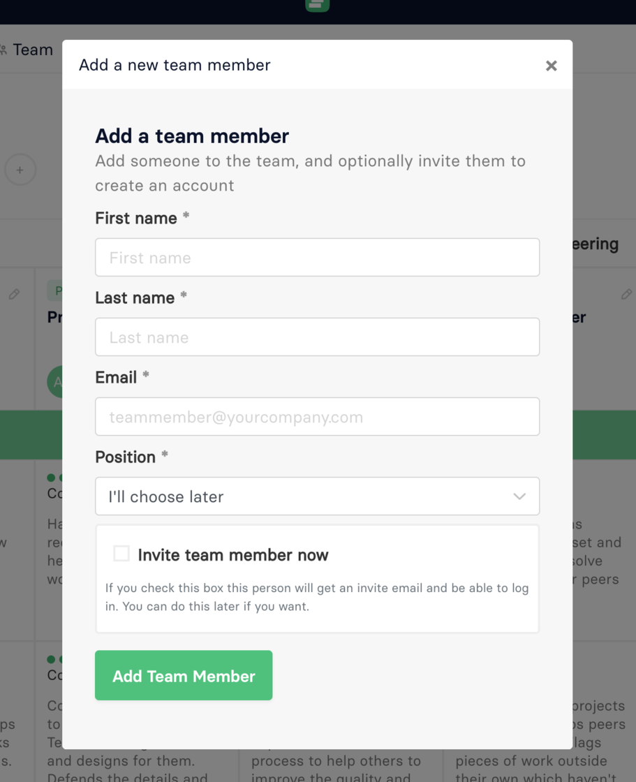 inviting a team member
