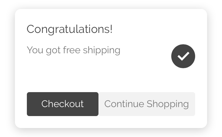 Free Shipping Popup (Shopify app) – Add some space between buttons (before)