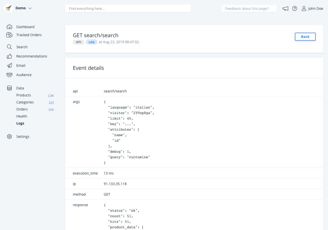 API request details.