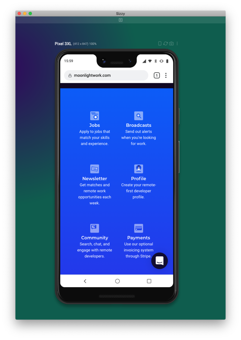 Showing the fixed home page layout on a Pixel 3XL
