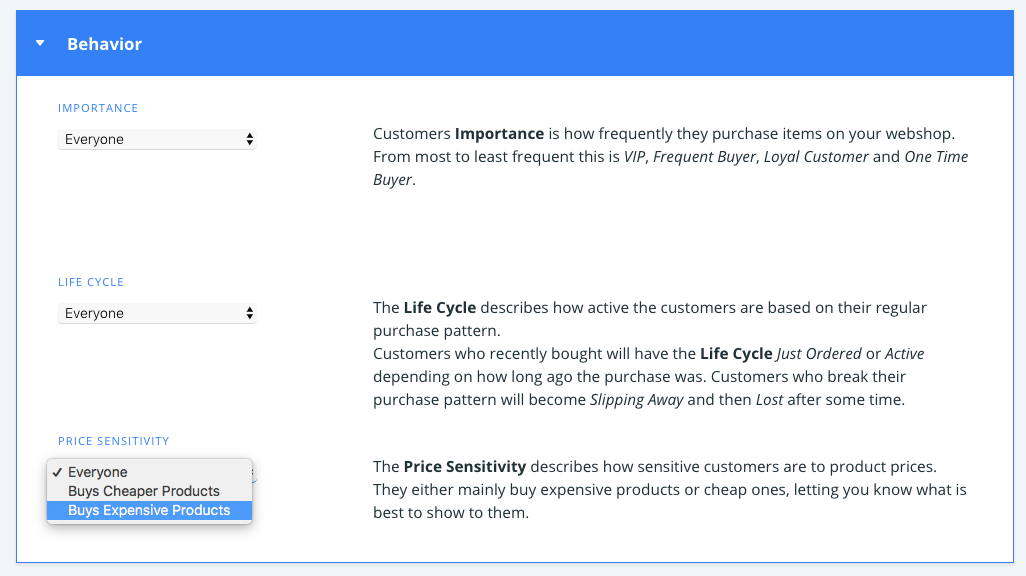 Price sensitivity in Clerk.io Audiences