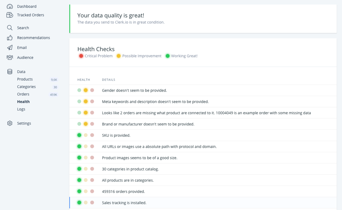 Simplified data health check.