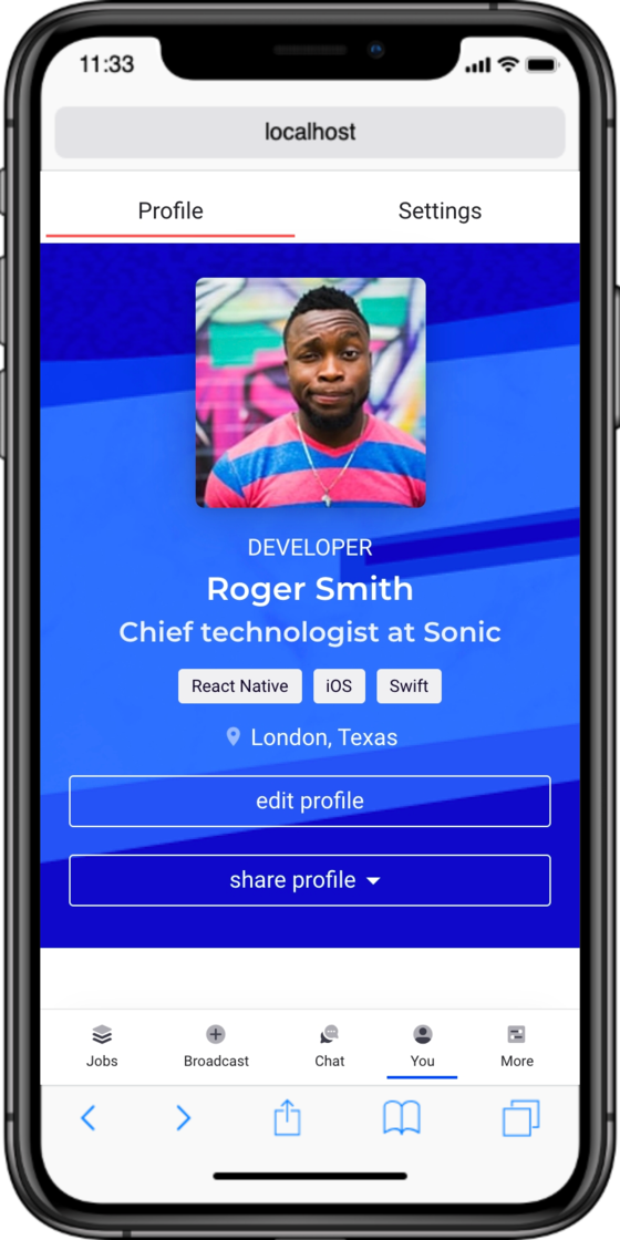 Mobile view of the new navigation and profile