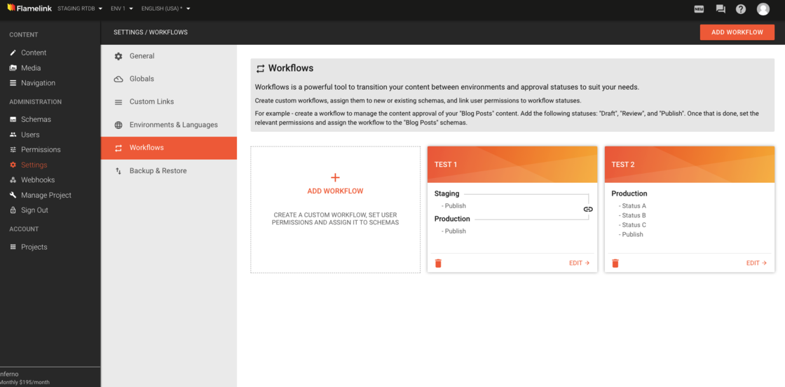 workflows dashboard