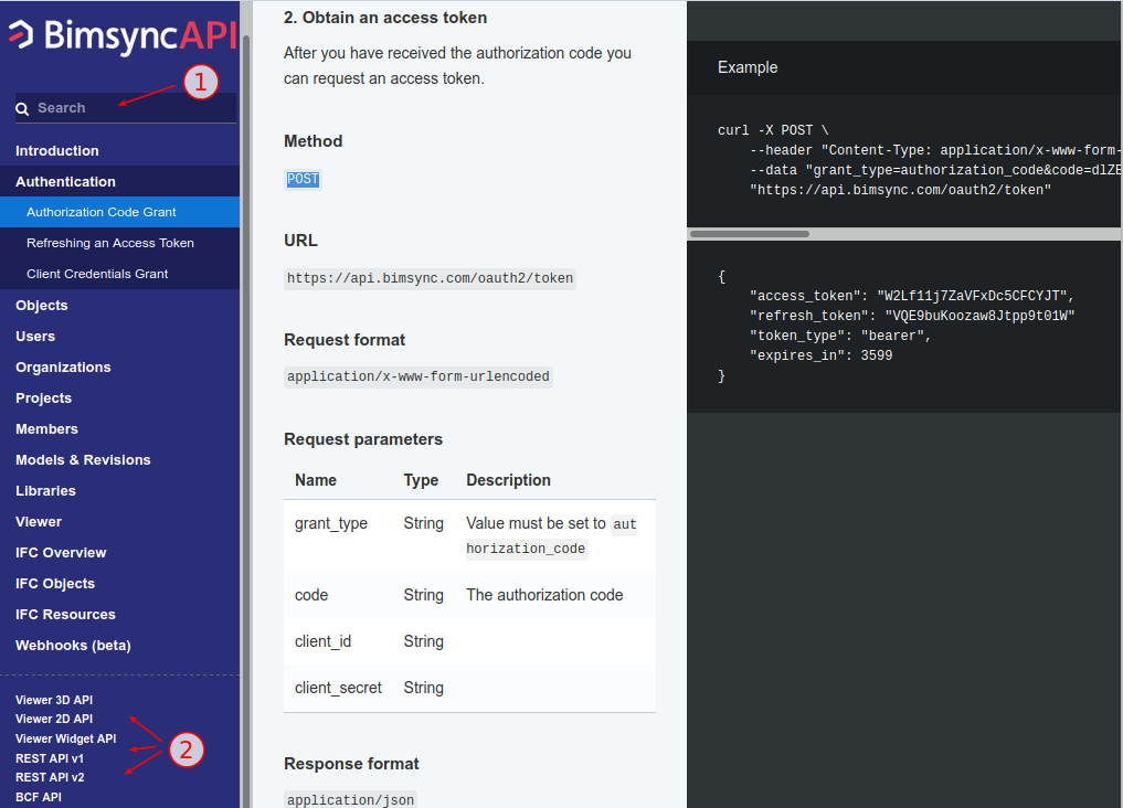 Bimsync API documentation