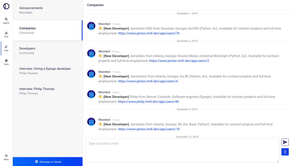 Moonlight chat screenshot without link enrichment