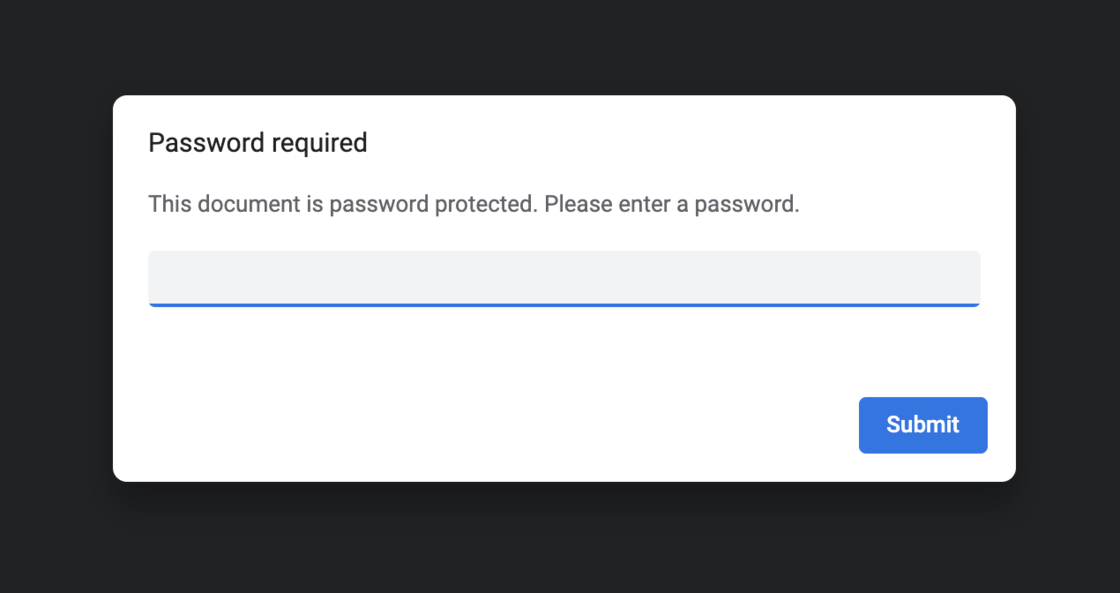 PDF Password required in Google Chrome
