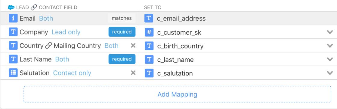 multi-destination sync field mapper