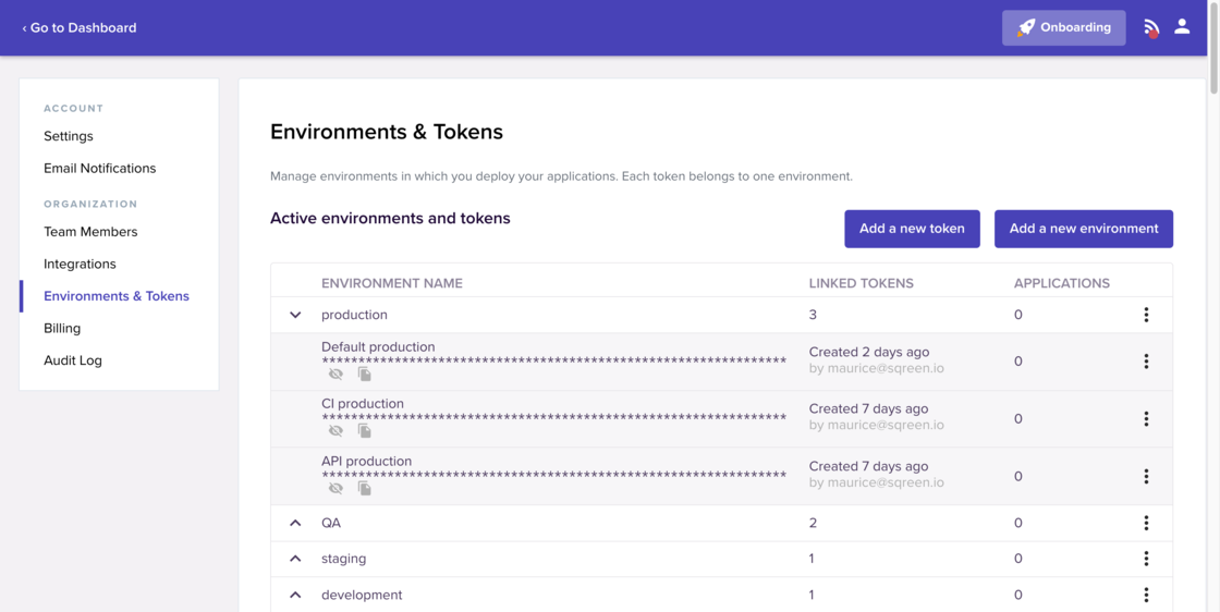 Screenshot of environments and tokens management