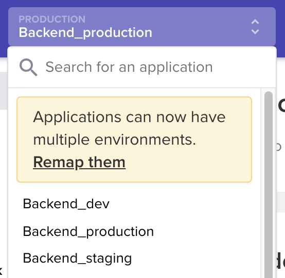 Screenshot of application selector