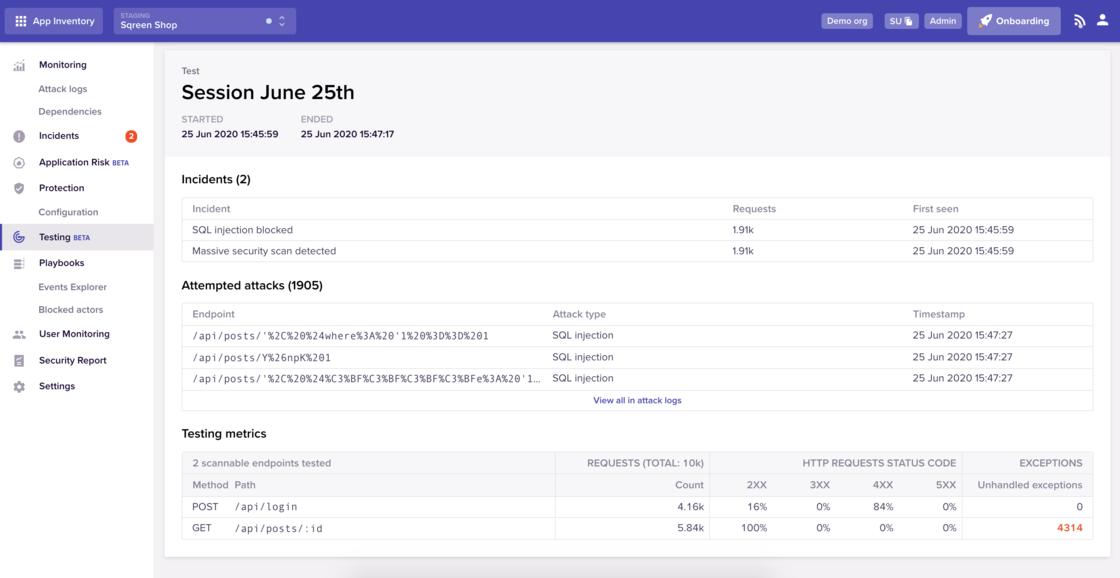 Screenshot of Sqreen Testing