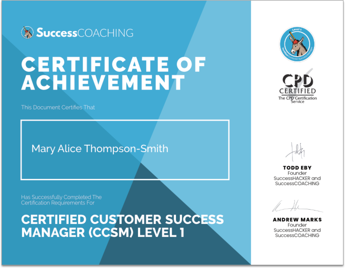SuccessCOACHING Example Certificate CCSM Level 1 w SHADOW.png