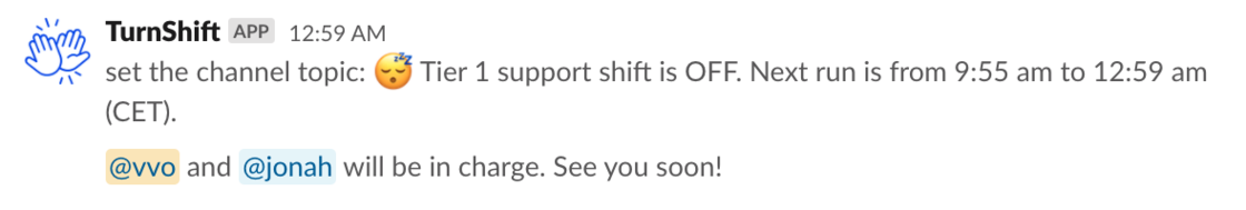 Topic update on Slack from TurnShift after Shift end
