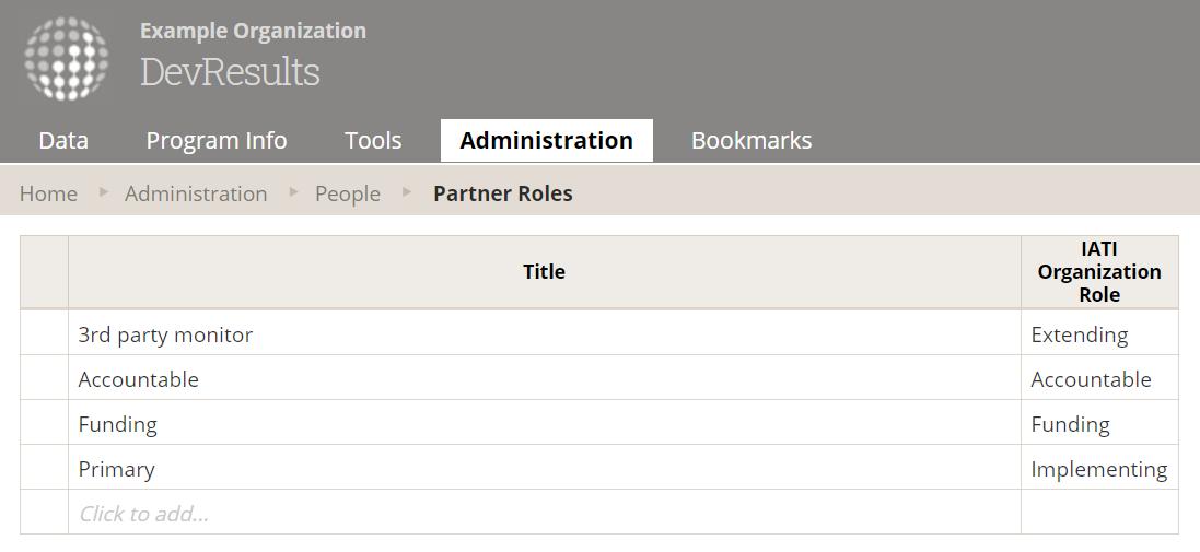 Editable grid of partner roles under Administration, Partner Roles