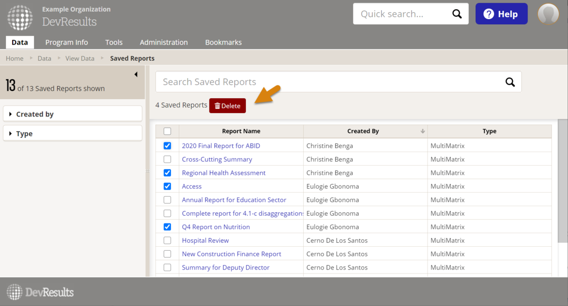 Delete button is shown on reports index page for 4 selected reports