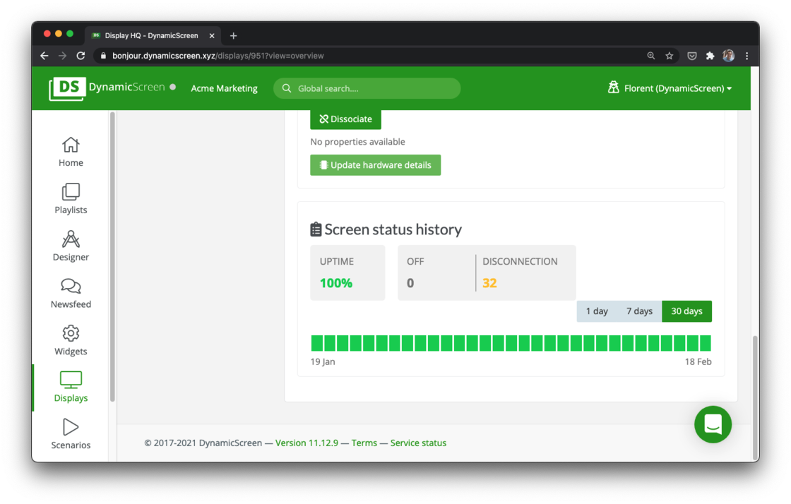 Uptime Tracking in DynamicScreen