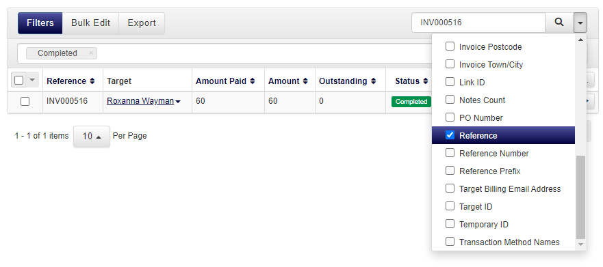 example of searching for invoice by reference number within accessplanit tms