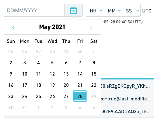Date picker screenshot