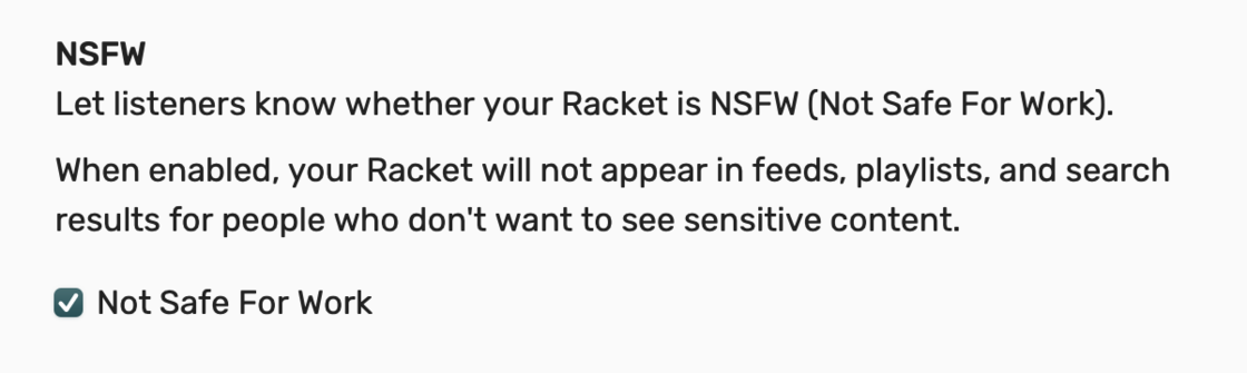 Racket NSFW settings