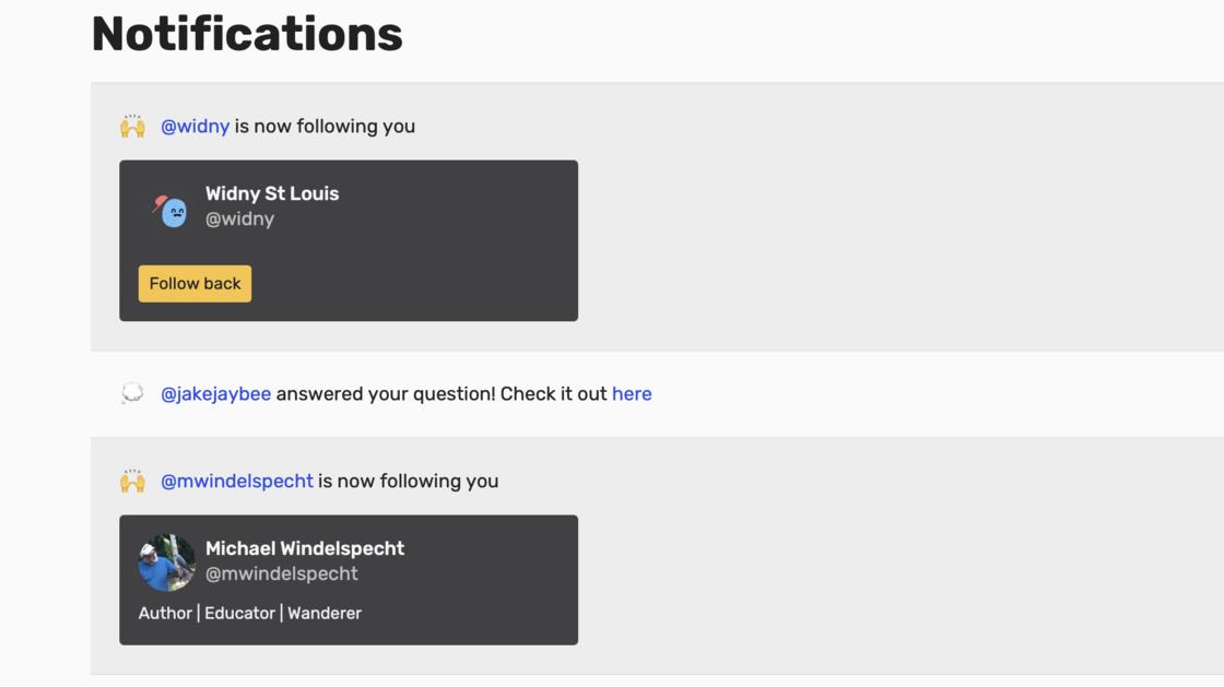 Follow people in Racket notifications