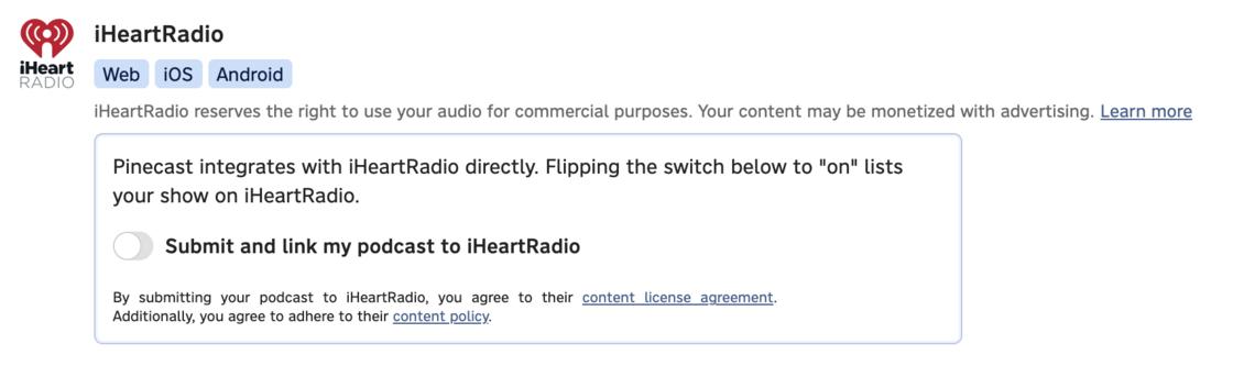 iHeartRadio on the Distribution tab