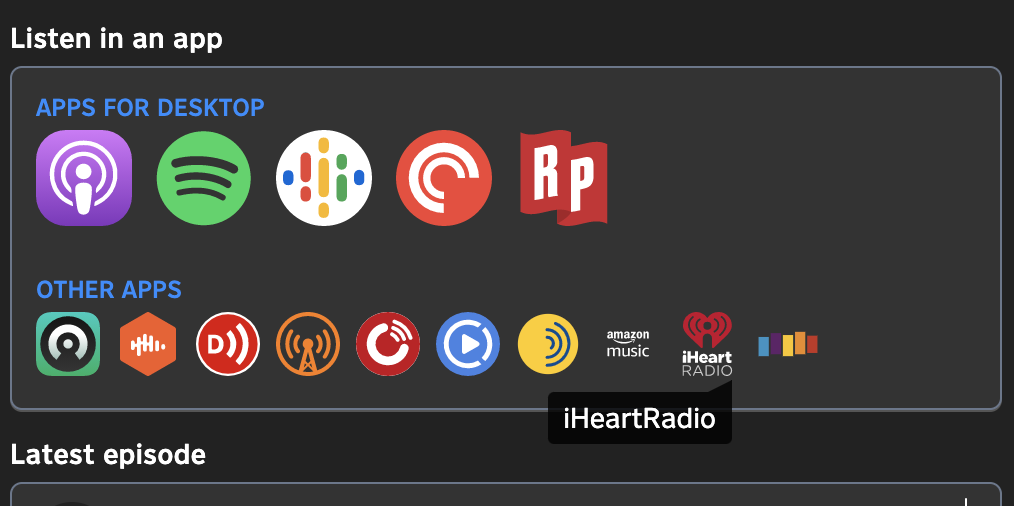 iHeartRadio appears in the list of apps on a Pinecast short link