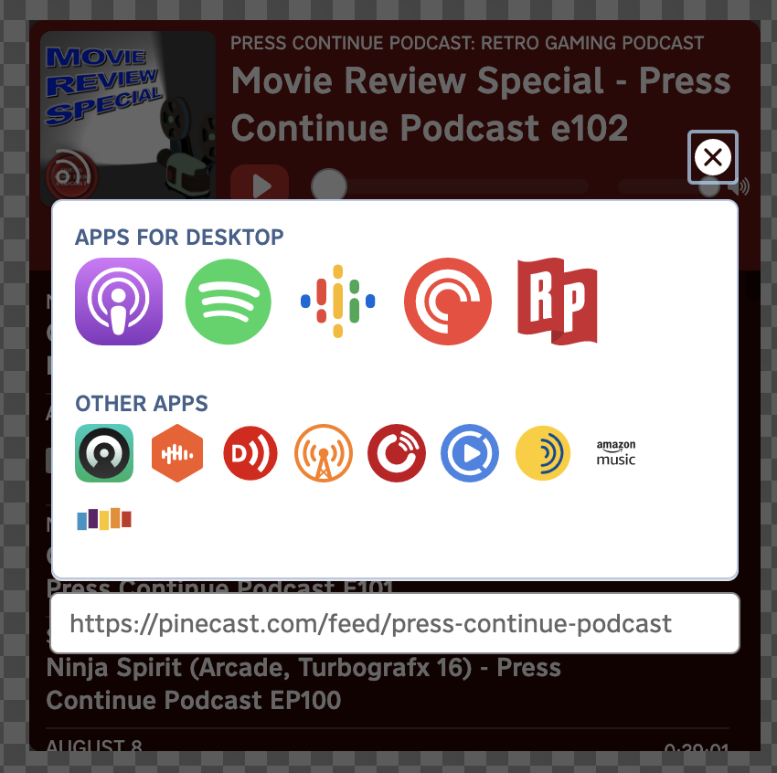 A view of the links to podcast apps within the player