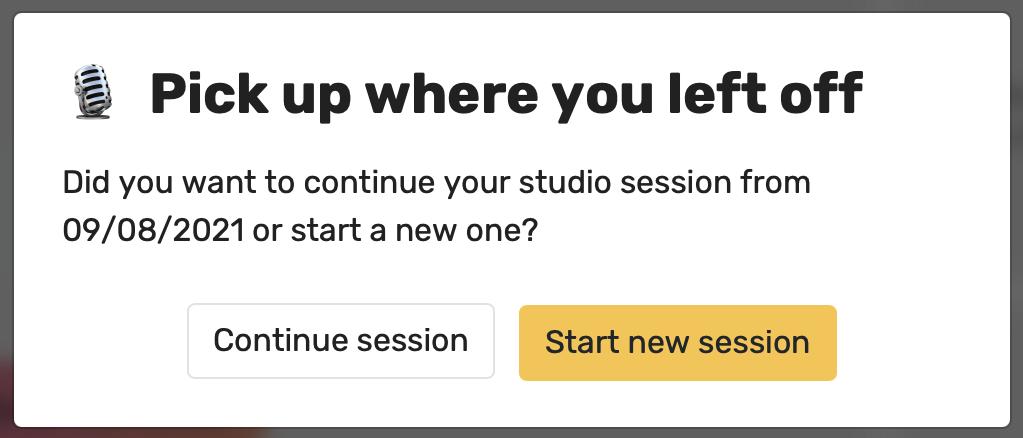 resume Racket studio session