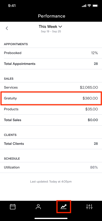 Professional App   Gratuity in Performance Report.png